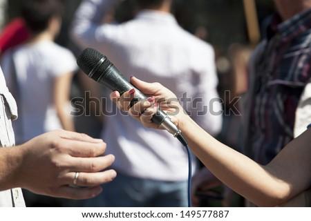 Press interview - stock photo