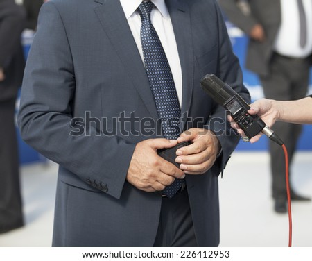 Press interview - stock photo