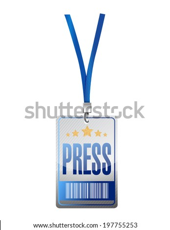 press pass tag illustration design over a white background - stock photo