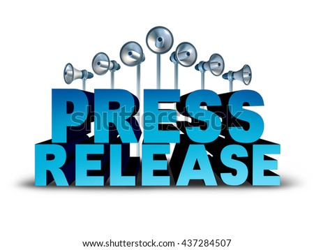 Press release news reporting and public relation communication concept as 3D illustration text with bullhorn or megaphone objects broadcasting an important message or media announcement sound bite. - stock photo