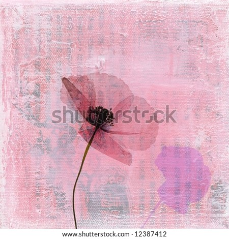 Pressed poppy flower on abstract textured art background. Art and content is created and painted by photographer. - stock photo