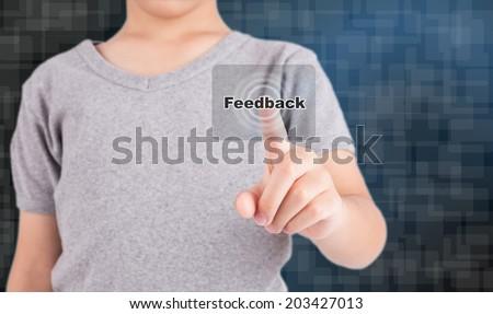 pressing feedback button on virtual screens - stock photo