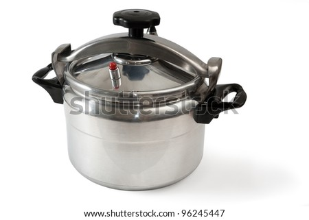 Pressure cooker it is isolated on a white background - stock photo