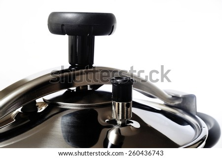 Pressure cooker stainless steel French-made for cooking food in steam - stock photo