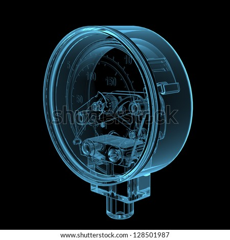 Pressure gauge (3D x-ray blue transparent isolated on black) - stock photo