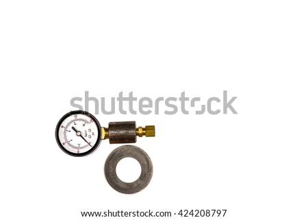 Pressure gauge, fabricated isolated on white background - stock photo