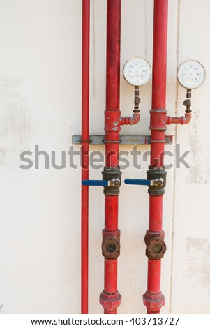 Pressure gauge for measuring pressure of fire protection system. - stock photo