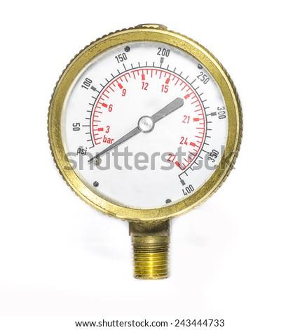 Pressure gauge in studio - stock photo