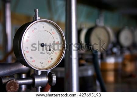 Pressure gauge, measuring instrument close up - stock photo