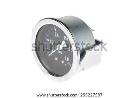 pressure meter isolated on white - stock photo