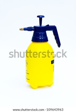 Pressure sprayer bottle with a measured scale, Isolated on white background - stock photo