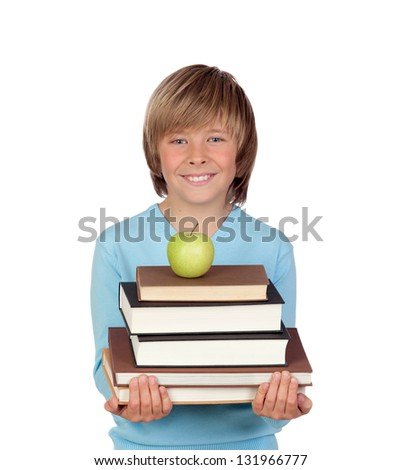 Preteen boy with a many books isolated on white background - stock photo
