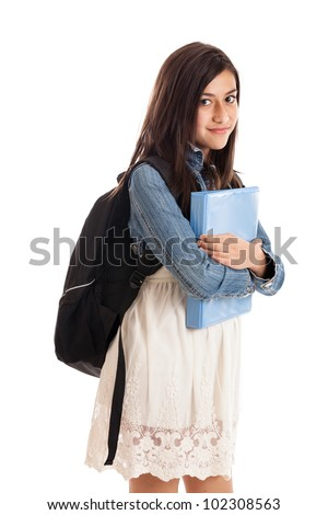 Preteen mixed race student with notebook and backpack isolated on white background - stock photo