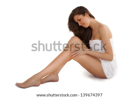 pretty adult girl with nice legs - stock photo