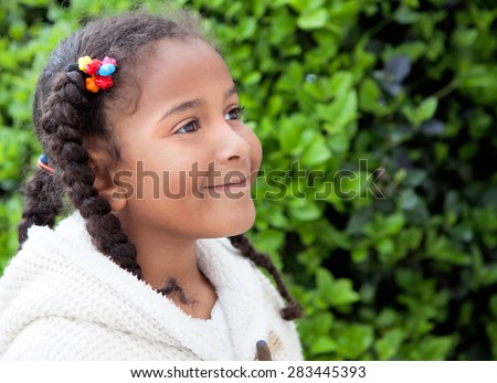 Pretty African American Girl With Braids Outdoors - stock photo