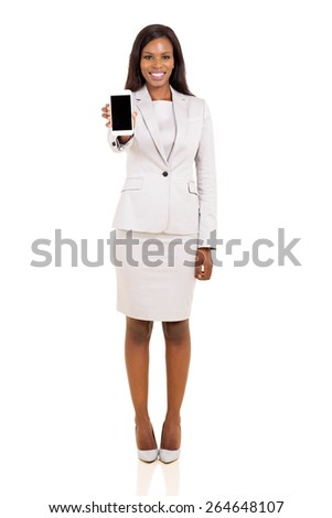 pretty african businesswoman showing smart phone isolated on white background - stock photo