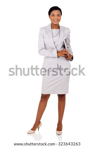 pretty afro american businesswoman holding laptop computer isolated on white background - stock photo