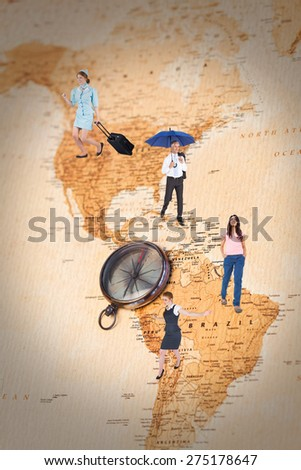 Pretty air hostess pulling suitcase against world map with compass showing north and south america - stock photo