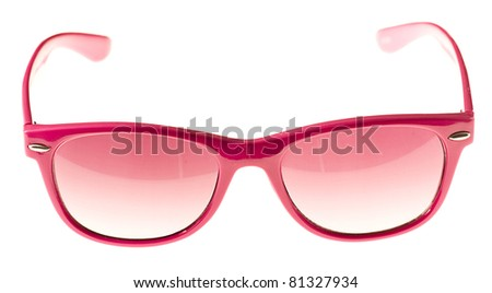 pretty and shiny sunglasses isolated on a white background - stock photo