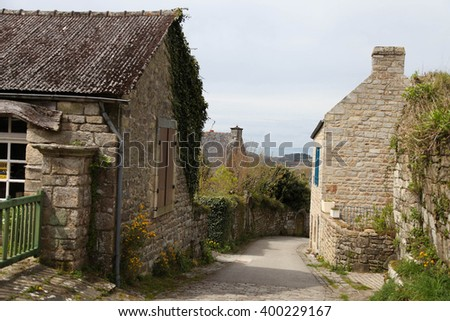 Pretty authentic street in small french village - stock photo