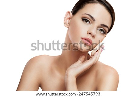 Pretty babe enjoy a flawless skin, skin care concept / photo composition of brunette girl  - isolated on white background  - stock photo