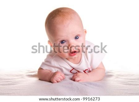 Pretty baby crawling - stock photo