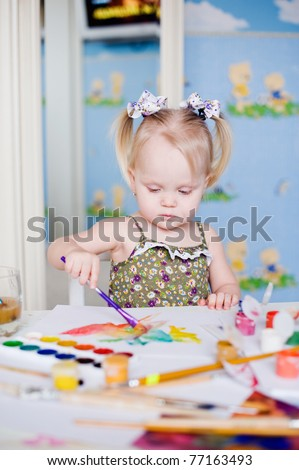 Pretty baby girl's daytime - stock photo