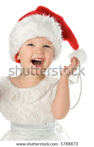 pretty baby in santa claus christmas red hat over white background - stock photo