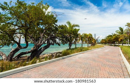 Pretty beach along the Rickenbacker Causeway in Key Biscayne in Miami. - stock photo