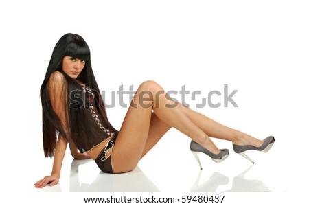 pretty black hair girl in black underwear isolated on white - stock photo