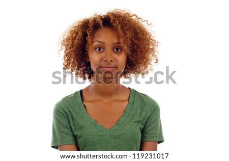 Pretty black woman closeup portrait  isolated over white background - stock photo