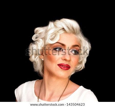 Pretty blond girl model like Marilyn Monroe in white dress with red lips on black background - stock photo