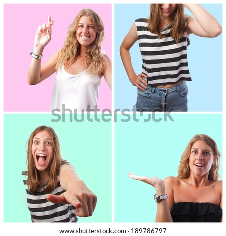 pretty blond woman gestures - stock photo
