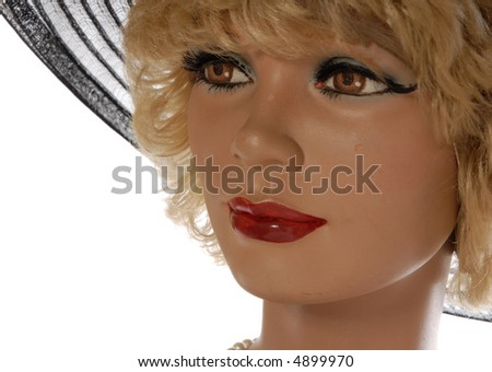 pretty blonde mannequin, large black lace hat isolated on white - stock photo
