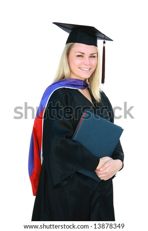 Pretty blonde master's degree graduate in cap and gown. - stock photo