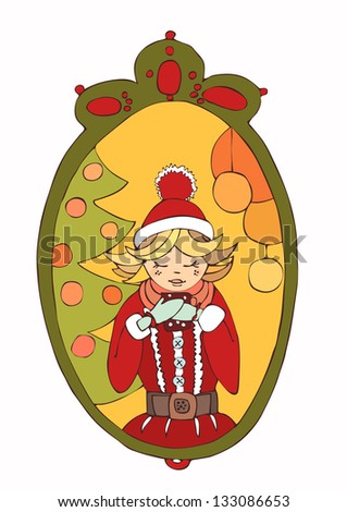 Pretty blonde woman drinking hot tea on Christmas day. - stock photo