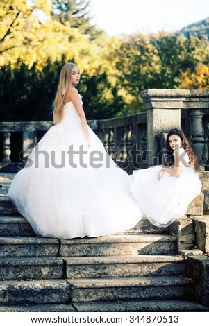 Pretty bride in white tulle fluffy dress standing sideways and brunette curly little girl in nice gown sitting on stone stairs with banister in autumn park, vertical photo - stock photo
