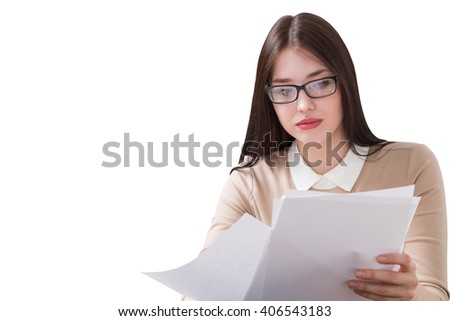 Pretty brunette businesswoman with paper isolated on blank white background. Mock up - stock photo