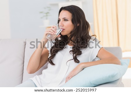 Pretty brunette drinking water on couch at home in the living room - stock photo