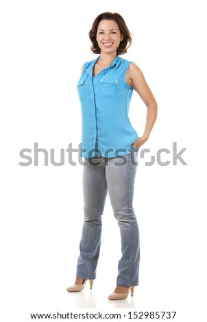 pretty brunette in her 30s wearing casual outfit on white background - stock photo