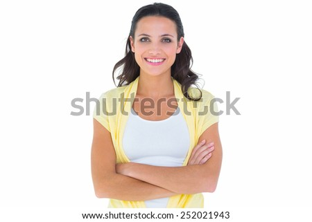 Pretty brunette smiling at camera on white background - stock photo