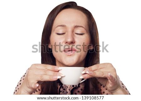 Pretty business woman drinking coffee - stock photo