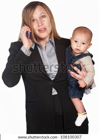 Pretty businesswoman with baby over white background - stock photo