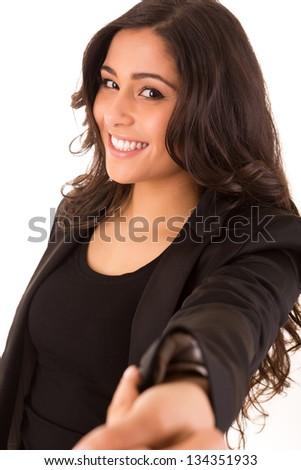 Pretty caucasian business woman shaking hands - stock photo