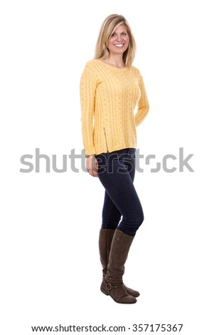pretty caucasian casual woman on white isolated background - stock photo