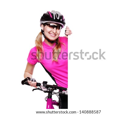 pretty cyclist girl holding the  blank board on white background and the pink bicycle horizontal shot - stock photo