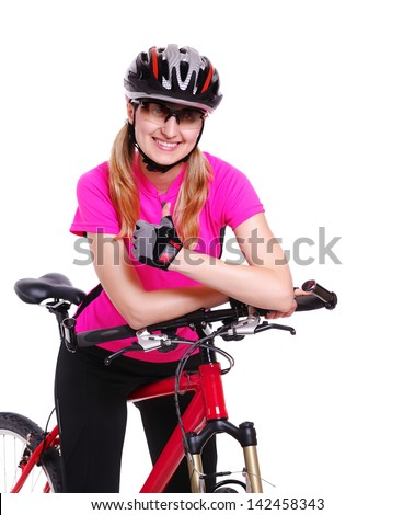 pretty cyclist girl  on white background showing thumbs up - stock photo