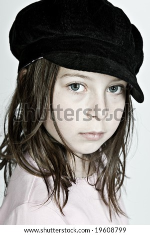 Pretty Dark Haired Girl Looking at the Camera - stock photo