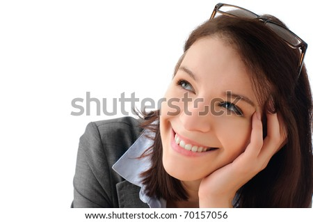 Pretty entrepreneur thinks of future success - stock photo