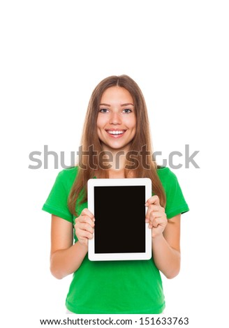 pretty excited woman happy smile hold tablet pad computer empty touch screen with copy space, young attractive student girl wear green shirt, smiling isolated over white background - stock photo